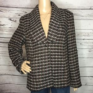 Coldwater Creek Black White Sparkle Woven Blazer